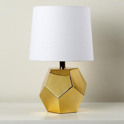 Between a Rock Lamp Base, Gold - Geometrics are still hot. Mix it with gold, and you have a classic that will last beyond the next color trends.