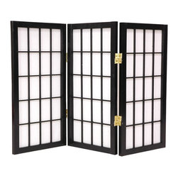 Oriental Unlimited - 2 ft. Low Desktop Window Pane Shoji Screen (3 - Finish: 3 Panels / HoneyScreens may vary slightly in color. The new 24 in. tall desktop window pane Shoji screen is a miniature counterpart to our popular full size window pane Shoji screen. The low height is perfect for hiding unsightly areas, desktops, modified window treatments or for simply for adding a new design element to your space. The window pane design is the most traditional of shoji screens and complements a variety of decors. Crafted from durable and lightweight Scandinavian Spruce. Asian style mortise and tenon joinery used. Shade is strong. Fiber reinforced pressed pulp rice paper allows diffused light. Provides complete privacy. Lacquered brass. 2-Way hinges mean you can bend the panels in either direction. Black finish. Assembly required. Each panel: 12 in. W x .75 in. D x 24 in. H