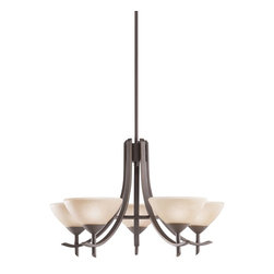 KICHLER - KICHLER 1679OZ Olympia Transitional Chandelier - The Olympia Collection brings a modern twist on the classic aesthetic to create a new form the likes of which has not been seen before. The curvilinear, flowing arms of these chandeliers, pendants, and wall sconces create a clean, contemporary profile for your home. The Olde Bronze finish combined with Sunset Marble glass diffusers and shades present a natural color palate capable of matching any décor. This medium-sized, 5-light Olympia chandelier is a wonderful choice for the homeowner looking for a fashionable and functional design. It uses 60-watt (max.) bulbs that, when combined with the satin-etched white glass diffusers, create soft, yet practical light for any room. All in all, a wonderful piece that will certainly enhance your home.