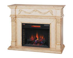 """Classic Flame - 28"""" Gossamer Infrared Quartz Heater Electric Wall Fireplace - The elegant Gossamer features fine details like beaded molding, a center panel swag with rosettes and a reverse breakfront design with classical style details. The Acanthus leaf capital with fluted pilasters are grounded by a genuine hearth base, all surrounding a 28"""" Electric Fireplace Insert. The Gossamer's intricate design and Antique Ivory Finish will add warmth and whimsy to any room."""