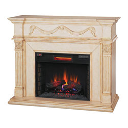 "Classic Flame - 28"" Gossamer Infrared Quartz Heater Electric Wall Fireplace - The elegant Gossamer features fine details like beaded molding, a center panel swag with rosettes and a reverse breakfront design with classical style details. The Acanthus leaf capital with fluted pilasters are grounded by a genuine hearth base, all surrounding a 28"" Electric Fireplace Insert. The Gossamer's intricate design and Antique Ivory Finish will add warmth and whimsy to any room."