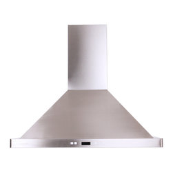 Cavaliere - Cavaliere-Euro 36-Inch Island-Mount Contemporary Range Hood - Modernize your kitchen decor with this 36-inch range hood. The telescopic chimney is fashionable and functional,fitting under a nine-foot ceiling,featuring a low-noise,upgraded version with a dual chamber,and offering a six-inch round-duct vent.