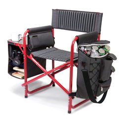 """Picnic Time - Fusion Chair - Dark Gray with Red - The Fusion Chair is a Picnic Time original, one-of-a-kind design. Like no other portable outdoor chair, the Fusion chair has so many added features and creature comforts, you'll never want to use a regular chair. It features padded backpack straps (for easy, balanced carrying), extra-comfort ribbed padding in (19.5"""" wide) seat and backrest, a fold-out table with expandable shelves, two sturdy fabric loops on back of chair to secure an umbrella or sports banner, and a detachable cooler bag with multiple utility pockets. Made of aluminum with polyester canvas, this chair is made to last and has a 350 lb. maximum weight capacity. Go ahead..try it out. You'll be blown away by this chair!. Includes: Detachable insulated cooler and detachable armrest with folding backpack strap system and electronics pocket"""