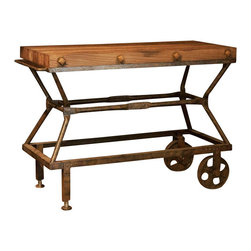 Industrial Console Sofa Table - This console is a unique addition to your Industrial Collection. It features a straight-line iron frame accented with rivets at the connecting joints and casters applied to the base of the table.