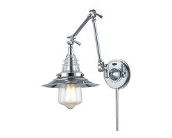 Elk Lighting - Elk Lighting 66806-1 Insulator Glass Traditional Swingarm Wall Sconce - Elk Lighting 66806-1 Insulator Glass Traditional Swingarm Wall Sconce in Polished Chrome