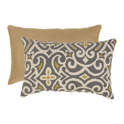 Pillow Perfect - Gray and Greenish-Yellow Damask Rectangular Throw Pillow - - Woven Texture  - 100% Virgin Recycled Polyester Fill  - Sewn Seam Closure  - Spot Clean Only  - Made In USA  -Please note that image shows front and back of pillow. Only one pillow is being sold. Pillow Perfect - 475097