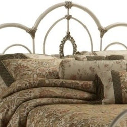 Hillsdale - Hillsdale Victoria Headboard with Rails - Shabby, yet chic is all the rage and the Victoria bed is the epitome of this popular style. Surrounded by ornate castings and sweeping scrollwork, the centerpiece of this bed is the lovely filigree oval.