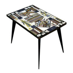 Pre-owned Mid-Century Tile Top Table - This Mid-Century Modern table has a fantastic graphic presence. It features a painted tile top with an Egyptian motif design on a black metal base.