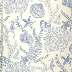 Seahorse Fabric Ocean Reef Blue Toile, Standard Cut - A seahorse seashell ocean reef fabric, done as a blue toile! This is also available in blue on aqua. Used together they make each other pop!