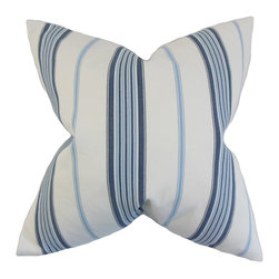"""The Pillow Collection - Halsey Stripes Pillow, Blue 18"""" x 18"""" - This throw pillow is home accessory that you need to get your hands on."""