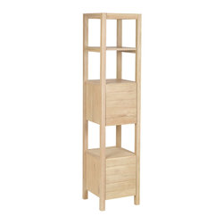 Sterling Industries - Elegance Shelves in Light Natural Wood Tone - This shelving unit is made from solid mindi wood. Finished in a light natural wood tone finish. It has 3 functional display shelves and 2 doors housing space for handy hidden storage. Matching sink unit and mirror is available.