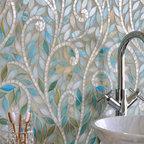 Climbing Vine Jewel Glass Mosaic - Climbing Vines, a jewel glass waterjet mosaic, is shown in Aquamarine leaves and Quartz vines.
