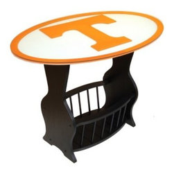 Fan Creations Collegiate End Table - The Fan Creations Collegiate End Table is a handsome table with sturdy construction that features a beveled glass top and lower storage area that's perfect for magazines. Choose your favorite NCAA team and see their logo in full, vibrant cover underneath the glass surface! Measures 31.25L x 20.5W x 22.75H inches.About Fan Creations Fan Creations are in this business because they love their teams, too. With a wide range of licensed furniture, products, wall decorations and more for fans of NFL, college, and other teams, they're your source for gameday goodness.