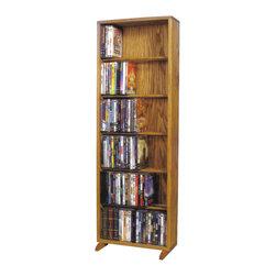 CD Racks - Solid Oak 6 Row Dowel DVD Cabinet Tower ...
