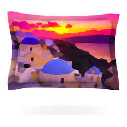 """Kess InHouse - Oriana Cordero """"My Konos"""" Pink Sunset Pillow Sham (Woven, 30"""" x 20"""") - Pairing your already chic duvet cover with playful pillow shams is the perfect way to tie your bedroom together. There are endless possibilities to feed your artistic palette with these imaginative pillow shams. It will looks so elegant you won't want ruin the masterpiece you have created when you go to bed. Not only are these pillow shams nice to look at they are also made from a high quality cotton blend. They are so soft that they will elevate your sleep up to level that is beyond Cloud 9. We always print our goods with the highest quality printing process in order to maintain the integrity of the art that you are adeptly displaying. This means that you won't have to worry about your art fading or your sham loosing it's freshness."""