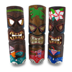 Zeckos - Set of 3 Partying Tiki Masks Hand Carved Wood Cocktail Tikis 19 in. - This assorted fun set of 3 hanging tiki masks is an essential addition to any tiki bar, outdoor oasis or island themed reception or party They are hand crafted from wood, and each measure approximately 19 inches tall (48 cm) and 5.5 inches wide (14 cm) with attached hangers on the back. Each tiki is hand painted with bold, cheerful colors, and hold a variety of adult beverages. This set would make an amazing housewarming gift, and this group of partying tikis is sure to liven up your party, porch, or patio, and is sure to keep the good times rolling NOTE: Because these masks are handcrafted, they may differ slightly than the ones pictured.