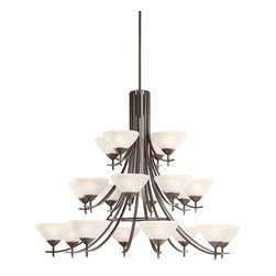 """Kichler Lighting - Kichler Lighting 1861OZW Olympia Transitional Chandelier - The Olympia Collection brings a modern twist on the classic aesthetic to create a new form the likes of which has not been seen before. The curvilinear, flowing arms of these chandeliers, pendants, and wall sconces create a clean, contemporary profile for your home. The Olde Bronze finish combined with Sunset Marble glass diffusers and shades present a neutral color palate capable of matching any modern decor. This handsome grand scale 3-tiered chandelier is the largest in the Olympia Collection. Its 20-light design employs 60-watt (max.) bulbs for superb lighting power making it the perfect showpiece for any large, open room. It measures 59"""" in diameter with a 48"""" body height and must be supported independently of the outlet box."""