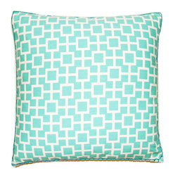 Picnic Turquoise Teal Squares Decorative Pillow