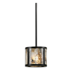 Uttermost - Coslada 1-Light Marble Mini Pendant - This spectacular mini pendant is a stunner, thanks to marble slabs that dapple the light emitted from within. Try hanging three together at different heights to up the drama even more.