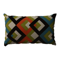 None - Pillow Perfect Overlap Geo Turquoise Rectangular Throw Pillow - Add the perfect blend of style and comfort to your home with this orange and green geometric throw pillow from Pillow Perfect. Sophisticated knife edging and a lovely polyester and cotton cover complete the design of this classy decorative pillow.