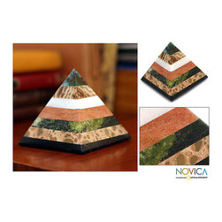Novica - Handcrafted Multi-gemstone 'Be Positive' Pyramid Sculpture (Peru) - This contemporary pyramid sculpture looks beautiful with each layer built with a new gemstone. The sculpture is intended to attract positive energy and to repel the negative,so it's ideal for homes that want to have a positive piece of artwork.