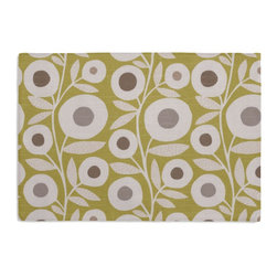 Chartreuse Graphic Flower Print Custom Placemats, Set of 4 - Is your table looking sad and lonely? Give it a boost with at set of Simple Placemats. Customizable in hundreds of fabrics, you're sure to find the perfect set for daily dining or that fancy shindig. We love it in this modern graphic floral print in lime green, gray & white that will put some spring in your decor's step