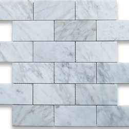 "Marbleville - MSI Arabescato Carrara 2"" x 4"" Honed and Beveled Marble Mosaic  in 12"" x 12"" She - Premium Grade Arabescato Carrara 2"" x 4"" Honed and Beveled Mesh-Mounted Marble Mosaic is a splendid Tile to add to your decor. Its aesthetically pleasing look can add great value to the any ambience. This Mosaic Tile is constructed from durable, selected natural stone Marble material. The tile is manufactured to a high standard, each tile is hand selected to ensure quality. It is perfect for any interior/exterior projects such as kitchen backsplash, bathroom flooring, shower surround, countertop, dining room, entryway, corridor, balcony, spa, pool, fountain, etc."