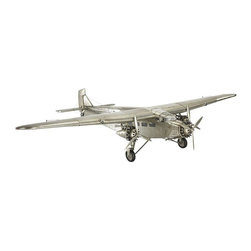 """Authentic Models - Wooden Ford Trimotor Airplane Model - Adorn this lovely Authentic Models airplane for its beauty and elegance. This model is hand made and hand finished by craftsman Corrugated Aluminum sheet over wooden frame just like the fabric planes. This can make a great corporate gift for travelers or airplane lovers!   * Dimensions: 40.25"""" L x 26.5"""" W x 8"""" H."""