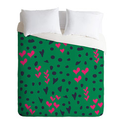 DENY Designs - Vy La Animal Love Duvet Cover - Turn your basic, boring down comforter into the super stylish focal point of your bedroom. Our Luxe Duvet is made from a heavy-weight luxurious woven polyester with a 50% cotton/50% polyester cream bottom. It also includes a hidden zipper with interior corner ties to secure your comforter. it's comfy, fade-resistant, and custom printed for each and every customer.