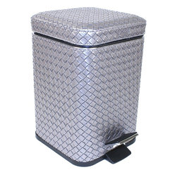 Gedy - Square Old Silver Faux Leather Waste Bin With Pedal - Stylish, decorative small square step waste basket.