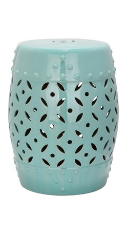 Safavieh - Capri Garden Stool - East meets West in the Capri Garden Stool. With classic Chinese drum shape, coin motif and faux nail head detailing inspired by ancient water vessels, this ceramic stool with robin?s egg blue glaze is fashion right for any decorating style from traditional to transitional.