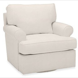 """Buchanan Swivel Armchair, Twill Cream - Merging versatile style with exceptional comfort, our Buchanan Swivel Armchair is simply the best value you can find. 35"""" w x 37"""" d x 35"""" h {{link path='pages/popups/PB-FG-Buchanan-3.html' class='popup' width='720' height='800'}}View the dimension diagram for more information{{/link}}. {{link path='pages/popups/PB-FG-Buchanan-5.html' class='popup' width='720' height='800'}}The fit & measuring guide should be read prior to placing your order{{/link}}. Polyester-wrapped cushions have a neat and tailored look. Proudly made in America, {{link path='/stylehouse/videos/videos/pbq_v36_rel.html?cm_sp=Video_PIP-_-PBQUALITY-_-SUTTER_STREET' class='popup' width='950' height='300'}}view video{{/link}}. For shipping and return information, click on the shipping info tab. When making your selection, see the Special Order fabrics below. {{link path='pages/popups/PB-FG-Buchanan-6.html' class='popup' width='720' height='800'}} Additional fabrics not shown below can be seen here{{/link}}. Please call 1.888.779.5176 to place your order for these additional fabrics."""