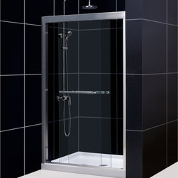 BathAuthority LLC dba Dreamline - Duet Frameless Bypass Sliding Shower Door & SlimLine Single Threshold Shower Bas - Choose the perfect solution for a bathroom renovation project with a DreamLine™ shower kit. This kit includes a DUET™ bypass sliding shower door and a coordinating SlimLine™ shower base. The DUET has two sliding glass panels that bypass each other to allow entry in to the shower space from either side. A SlimLine shower base completes the picture with a modern low profile design. Choose a beautiful and efficient DreamLine shower kit to completely transform a shower space.