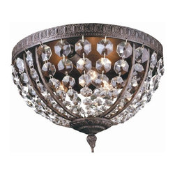 World Imports - Crystal Elegance 3 Light Flush Mount Fixture - Manufacturer SKU: WI260606. Bulbs not included. Ceiling mount only. Classic crystal flush mount that shows old world charm. Solid brass gallery. Faceted octagon crystals. Traditional style. Crystal Elegance Collection. 3 Lights. Power: 60w. Type of bulb: Candelabra. Flemish finish. 13 in. D x 8.5 in. H (13.2 lbs.)