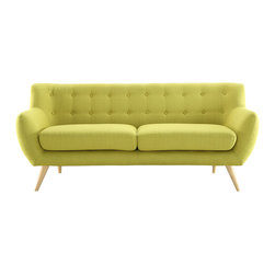 LexMod - Remark Sofa in Wheatgrass - Take notice and engage your sensibilities with this plush dual cushion, organically shaped loveseat. Remark is gracefully positioned on solid natural wood dowel legs designed according to mid-century sentiments. Whether settling in with coffee and brunch, or entering a spirited discussion with friends, Remark's polyester upholstery, two rows of finely stitched back seat buttons, and organic form ensure an eye-catching appeal at every turn. Bring depth and modernity to your contemporary living room or lounge area with the Remark mid-century modern style loveseat.