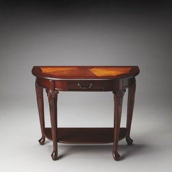 Butler - Butler Plantation Cherry Console Table 0653024 - Made from selected solid woods. Choice cherry veneers with maple and walnut veneers inlay. Marquerty design with burnished pattern lines. One working drawer and lower shelf. Brass plated hardware.