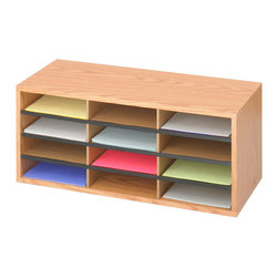"""Safco - Wood/Corrugated Literature Organizer, 12 - Oak - Less pricey paper storage! This economical literature organizer features 5/8"""" compressed wood cabinetry with laminate finish and a solid fiberboard back. Durable corrugated fiberboard inserts form twelve letter-size compartments for storing literature, stationery and supplies. Black plastic molding doubles as a convenient labeling area (labels included).; Features: Material: Solid Fiberboard (back), Furniture Grade Particleboard; Color: Oak; Finished Product Weight: 16 lbs.; Assembly Required: Yes; Tools Required: Yes; Limited Lifetime Warranty; Dimensions: 29""""W x 12""""D x 12""""H"""