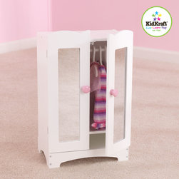"Kidkraft - Kids Doll Armoire From Vistastores - This Kids Doll Armoire is the perfect place for a young girl to store her favorite dolls outfits and accessories in safe place. This Armoire have doors which open and close Including 6 hangers and Accommodates dolls at 19"" tall."