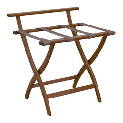 """Wooden Mallet - Luggage Rack w Standard Tan Webbing in Medium - Our unique """"Wall Saver"""" feature prevents costly wall damage. Has multiple uses when it doubles as a breakfast tray holder or blanket stand. Folds flat and is easily stored in a closet or against a wall when not in use. Four 2 in. woven straps support heavy suitcases. Graceful, curved legs add a designer flair. Rated to hold suitcases up to 100 lbs.. Built using solid oak construction and state-of-the-art finish for heavy use and lasting beauty.  Made in the USA. No assembly required. All Wooden Mallet products are warranted for 1 year against defects in materials and workmanship. Overall: 29.5 in. L x 23.75 in. W x 18 in. H (7 lbs.). Open: 29.5 in. L x 23.75 in. W x 18 in. H. Closed: 29.5 in. L x 23.75 in. W x 4.5 in. HGive your guest room the feeling of a four star hotel with this beautiful luggage rack. Built using solid oak and sturdy webbing, even the heaviest suitcases are easily supported by the four 2 in. wide woven straps. Our unique """"Wall Saver"""" feature prevents costly wall damage. This luggage rack has multiple uses when it doubles as a breakfast tray holder or blanket stand. These luggage racks fold and unfold easily. Take it out for guests, and then fold it up for easy storage. It is also a great in the master bedroom for packing suitcases for business trips or vacations."""