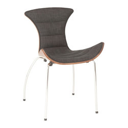 Drew Upholstered Side Chair - Siting in the Drew Chair will kind of feel like you're being hugged. With a soft upholstered seat and  walnut veneer back on top a sturdy chromed steel base, you'll never want to get up. When is the last time your furniture hugged you?