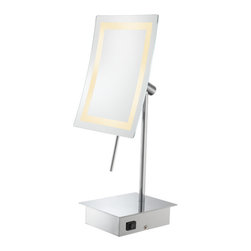"""Kimball and Young - Single-Sided LED Square Vanity Mirror - With its sleek, minimalist look, the Single-Sided LED Rectangular Minimalist Vanity Mirror would be a perfect touch to any bathroom. Its 3x magnification and 6.3"""" x 8.6"""" mirror, is surrounded by a bright, square light that uses only a fraction of the electricity of a comparable incandescent light! Being only 15 ¾"""" tall, it can fit easily onto any counter. Available in three finishes."""