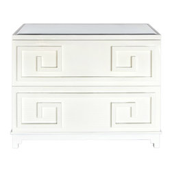 "Worlds Away - Worlds Away Wrenfield White Chest - Inspired by the tiered towers of Asia, geometric overlays add design interest to the Wrenfield chest. Worlds Away tops the look with beveled mirror for modern glamour and transitional versatility. 45""W x 22""D x 35""H; Made from solid hardwoods; White lacquer finish; Inset beveled mirror top; 2 roomy storage drawers with metal glides"
