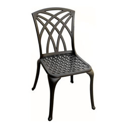 Versailles Cast Aluminum Dining Chair - Pair the Versailles Cast Aluminum Dining Chair with your existing table, or use it as a starting piece for a brand new patio set. Made of aluminum, this durable and lightweight chair will be enjoyed for years in your outdoor living space.