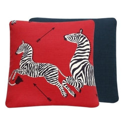 Chloe and Olive - Scalamandre Red Zebra Print Decorative Pillow - This iconic, prancing print by Scalamandre will bring vivacity and glamour to a couch, bed or chair. With a stunning pair of zebras on each throw pillow, the exquisite combination of Masai red, black and white will be a favorite for many seasons to enjoy. Scalamandre is a well known manufacturer of the finest quality fabrics for over 80 years.