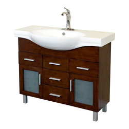 Bellaterra - 39.8 In Single Sink Vanity - Wood - Walnut - 4 Drawers - Add a unique contemporary flare to your home's decor with this modern style design sink chest vanity. The medium walnut finish is refreshing and will surely add to your home's ambiance. Three door panels with soft close hinges, two functional drawers with ball bearing drawer glides provide all storage necessity for any bathroom without compromising. Dimension: 39.8Wx18.5Dx34.8H * ** * Birch* Medium walnut* White Ceramic * White Ceramic Sink* Nickel finish hardware* Pre-drilled with 1 hole - One slot faucet, faucet and mirror not included* Slight assembly required. Dimensions: 39.8 in. x 18.5 in.