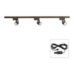 "ProTrack - Contemporary Pro Track® Bronze Finish 150 Watt  LV Track Kit - Plug In - A great choice for an underlit room whether it's a living room or home office. This low voltage complete track kit installs quickly. Kit includes a 4-foot length of track 3 adjustable bullet lights a cord and plug adapter with in-line on/off switch and a floating canopy. Bronze finish. Three fully adjustable bullet lights. Takes three 50 watt MR16 bulbs (not included). 4 foot track. Lights are 7"" high."