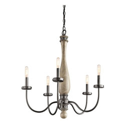 Kichler - Kichler Evan 5-Light Distressed Antique Gray Up Chandelier - 43322DAG - This 5-Light Up Chandelier is part of the Evan Collection and has a Distressed Antique Gray Finish.