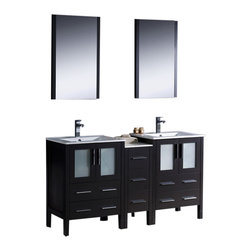 "Fresca - Torino 60"" Espresso Double Sink Vanity w/ Side Cabinet & Cascata Chrome Faucet - Fresca is pleased to usher in a new age of customization with the introduction of its Torino line.  The frosted glass panels of the doors balance out the sleek and modern lines of Torino, making it fit perfectly in eithertown or country decor."