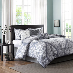 Madison Park - Madison Park Vienna 7 Piece Comforter Set - The Madison Park Vienna Comforter Set mixes a classic design with a contemporary pattern to give you this unique collection. This updated leaf design is featured inside of an oversized ogee for an eye catching top of bed. Made from 200 thread count cotton sateen on the face, this comforter and shams are soft to the touch and have a 180 thread count cotton/poly reverse. Three decorative pillows feature tufting and embroidery details for added value to complete this collection. Comforter & Sham: 100% cotton 200TC sateen printed on face, 180TC cross weavebacking, 270g/m2 poly fill Bedskirt: 180TC cross weave Pillow: 180TC cotton cross weave cover and poly filling