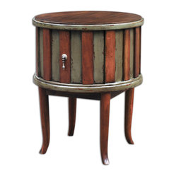 Uttermost - Crosetta Drum Table - This fine work of art would make a smashing end table in your living space. The mahogany wood is slightly weathered and the artisan craftsmanship makes the dovetail drawer disappear.